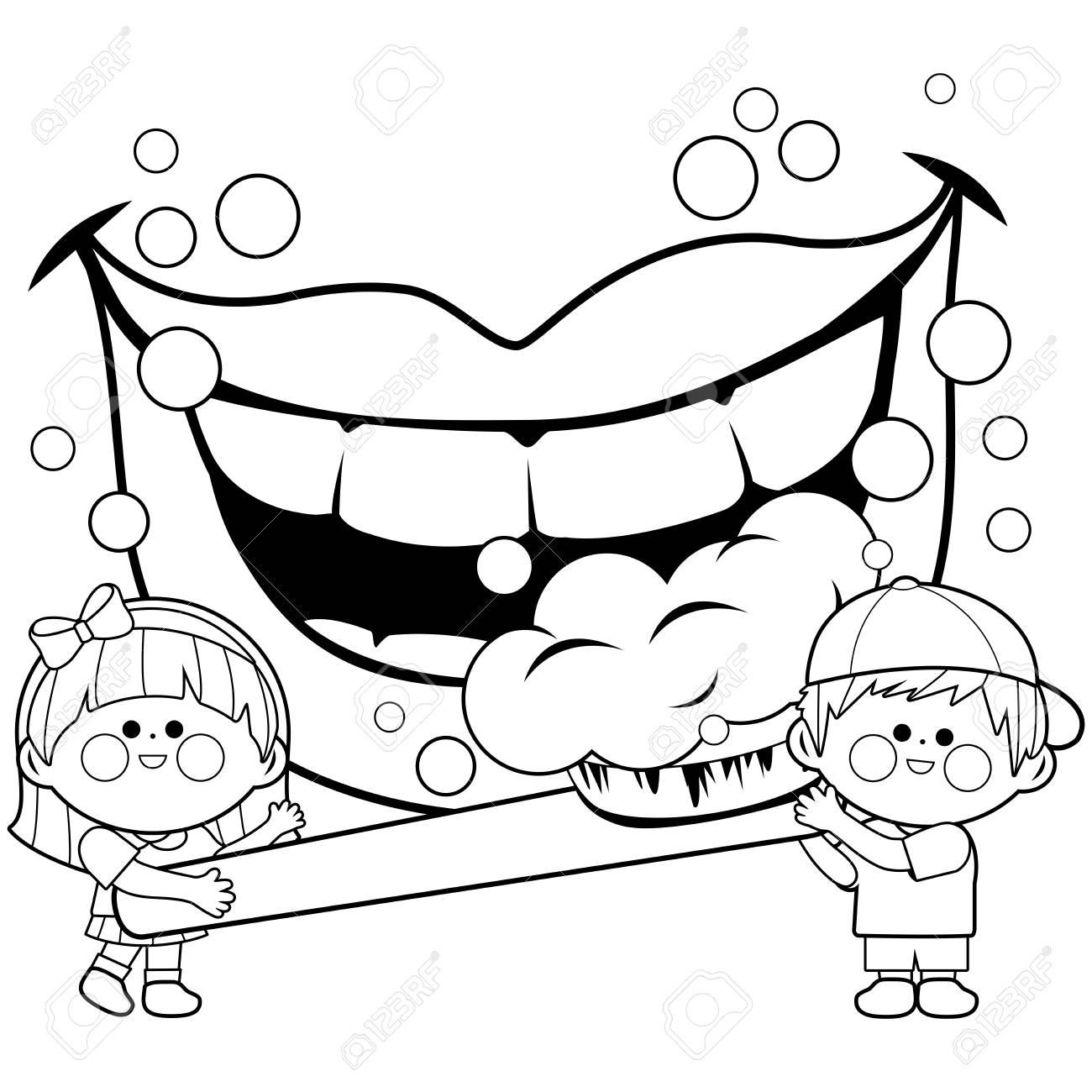 children holding a toothbrush and brushing teeth. coloring book