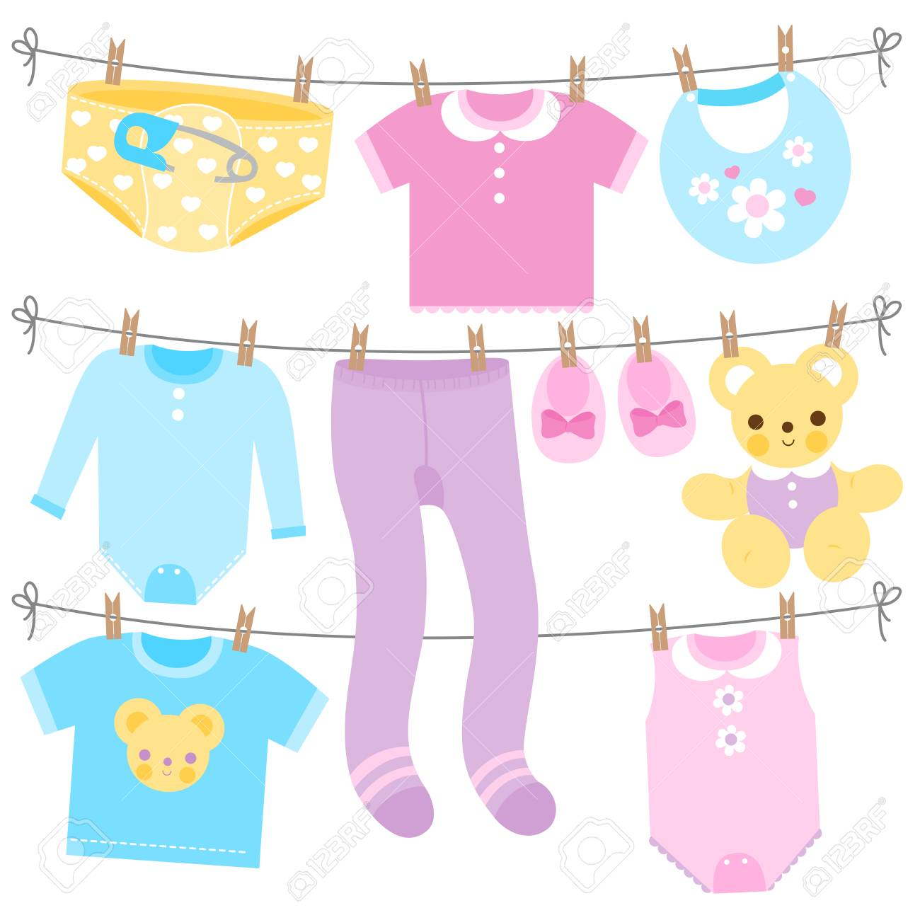 baby girl and baby boy clothes collection hanging on clothes rh 123rf com baby clothesline clipart free baby clothes clothesline clipart