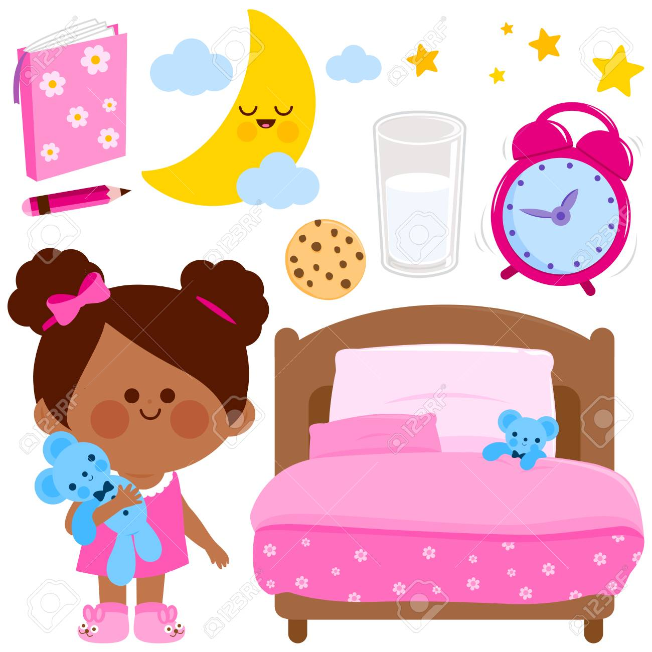 cute girl getting ready for bed at night. vector illustration