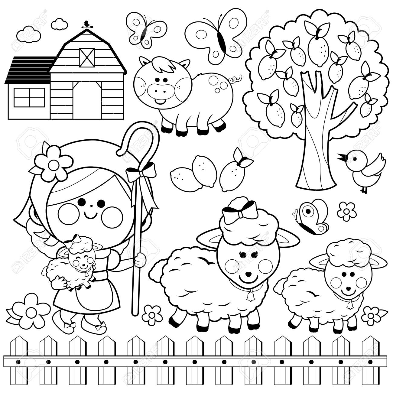 Coloring Page Outline Of Cartoon Chicken Or Hen With Chicks. Farm ...   1300x1300
