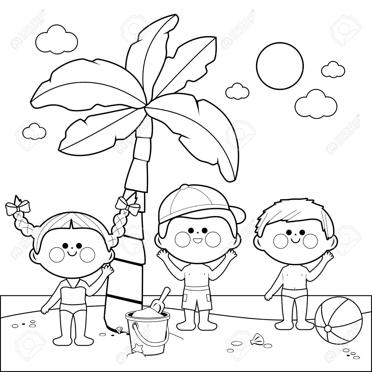 Children at the beach playing under a palm tree. Black and white..