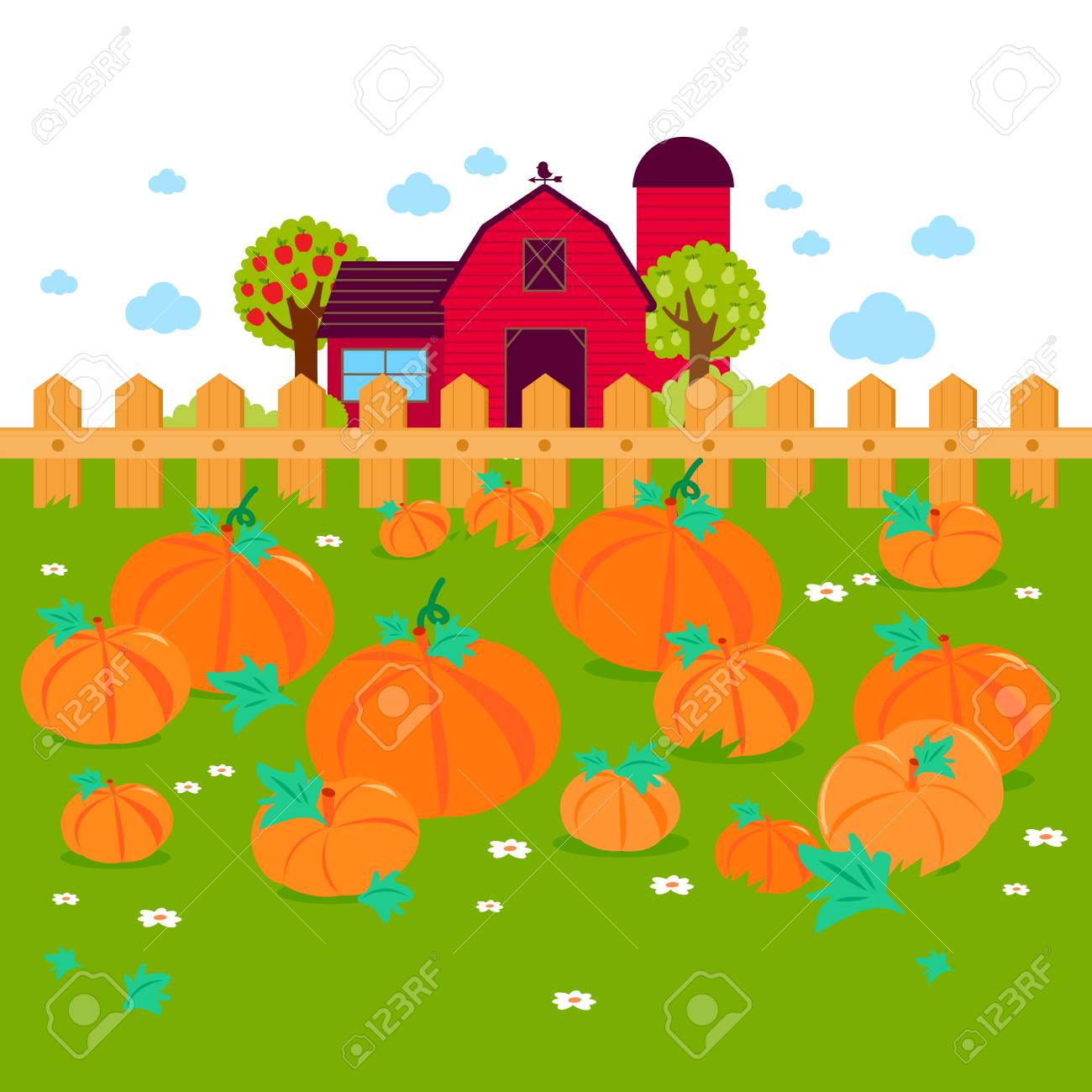 Rural landscape with a pumpkin field and a farmhouse. - 109319975
