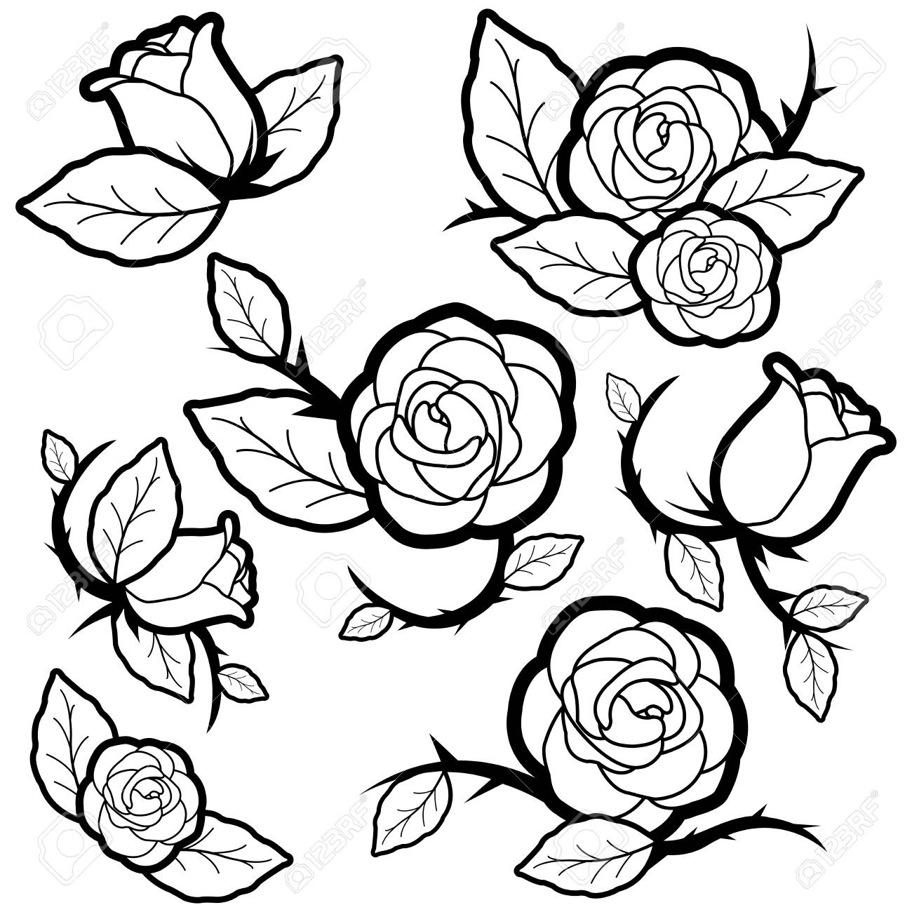 Vector Black And White Illustration Set Of Tattoo Style Roses