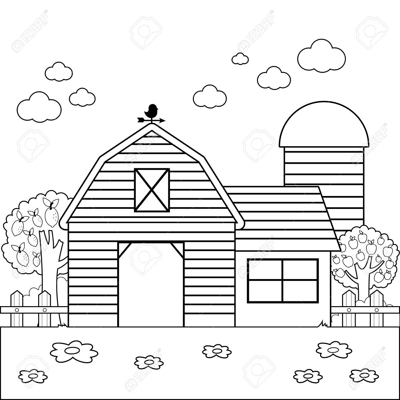 Landscape With Barn Farmhouse Fence And Orchard Trees Black Royalty Free Cliparts Vectors And Stock Illustration Image 109992793