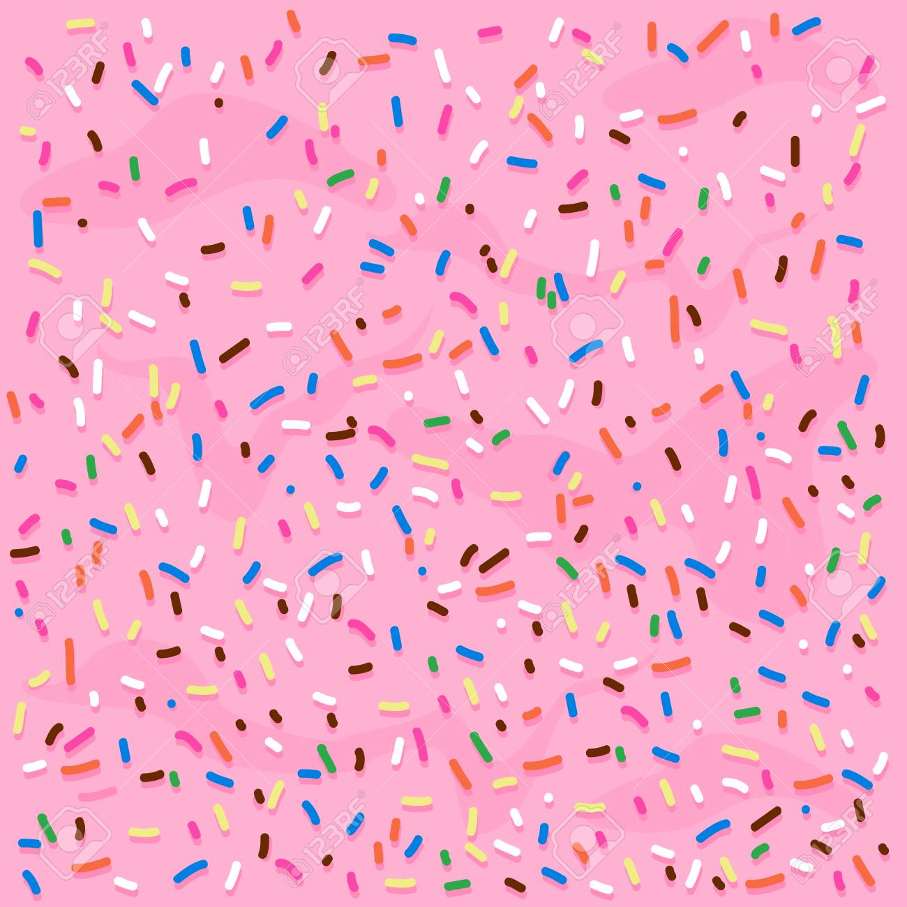 Pink cream frosting with colorful sprinkles  Vector background