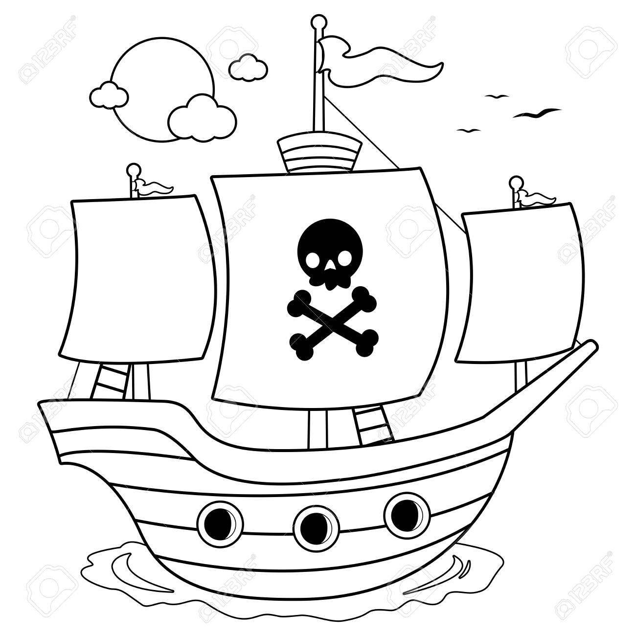 Pirate ship. Black and white coloring book page - 117694223