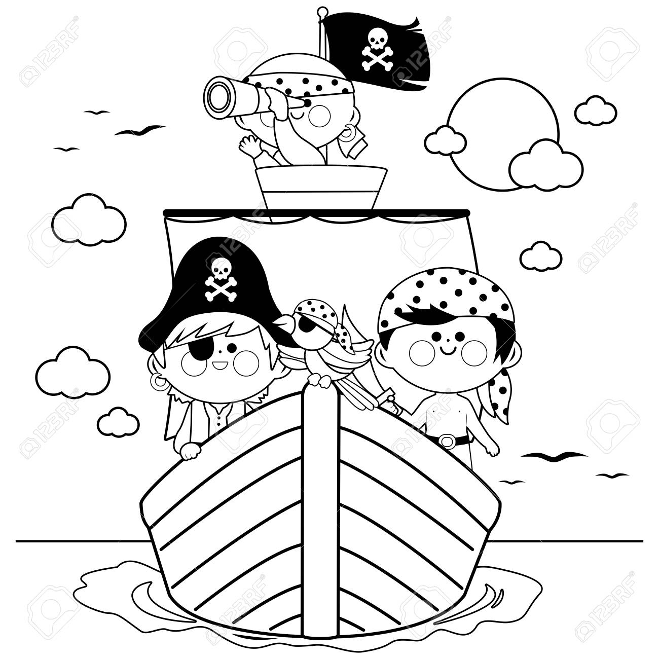 Pirates sailing on a ship at the sea black and white coloring