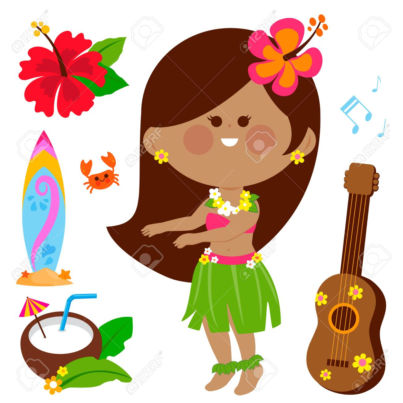 Vector illustration collection of a Hawaiian hula dancer girl and other beach summer vacation design elements. - 120311678