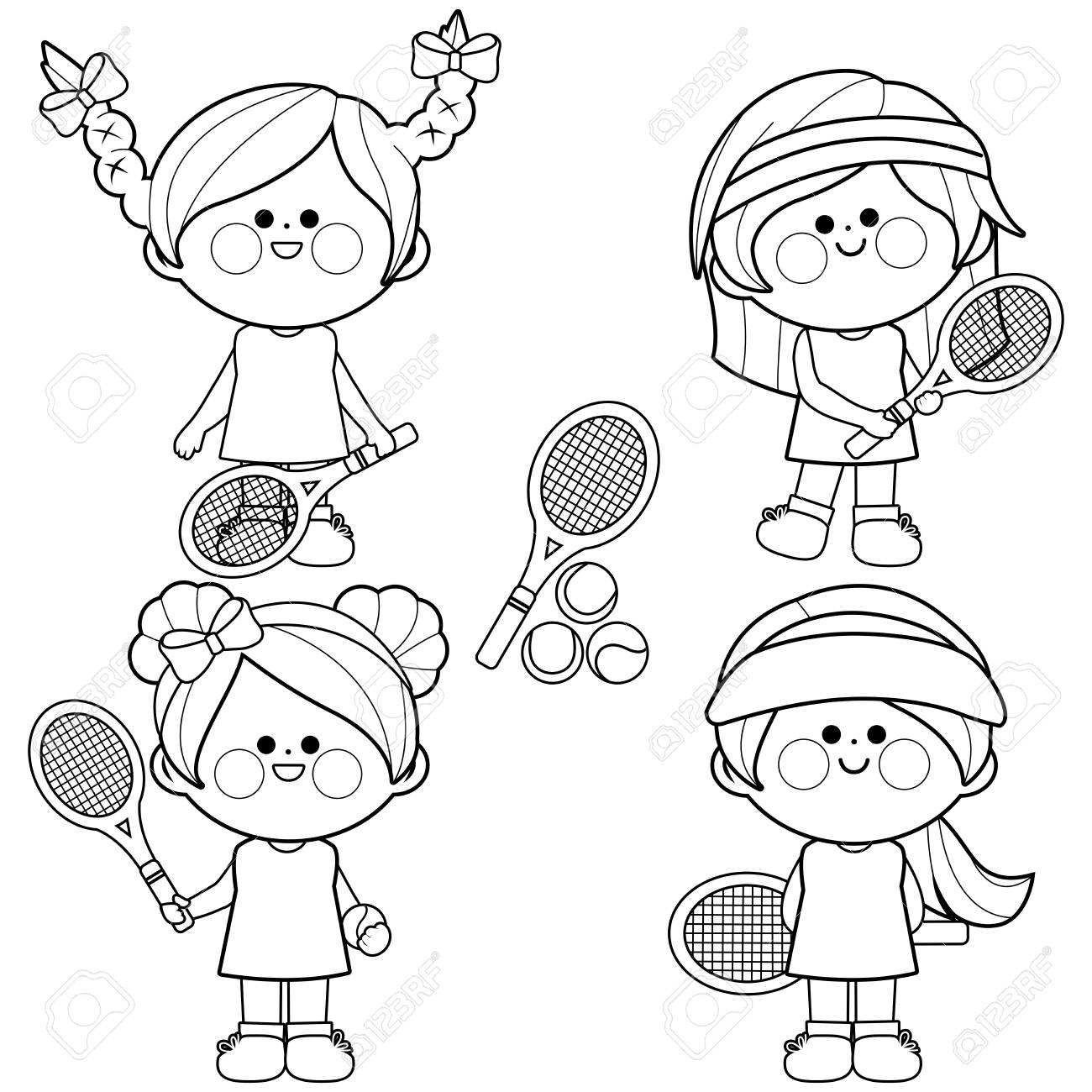 Group of girls tennis players. Black and white coloring book..