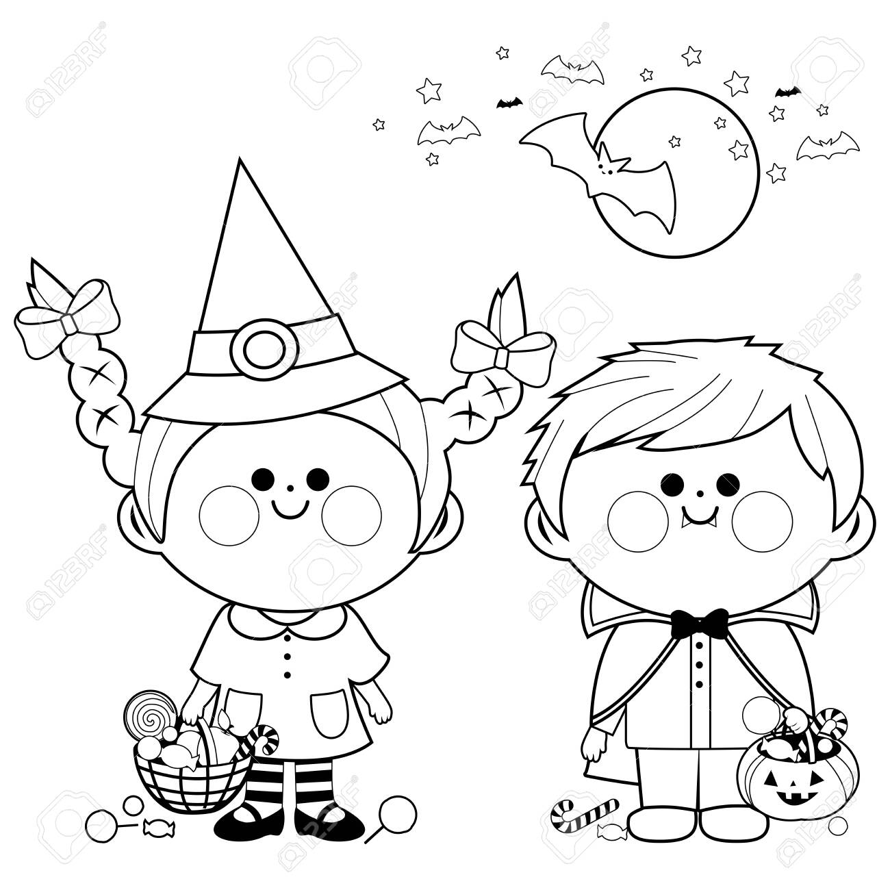Children dressed in Halloween costumes hold buckets with candy. Black and white coloring page - 132091139