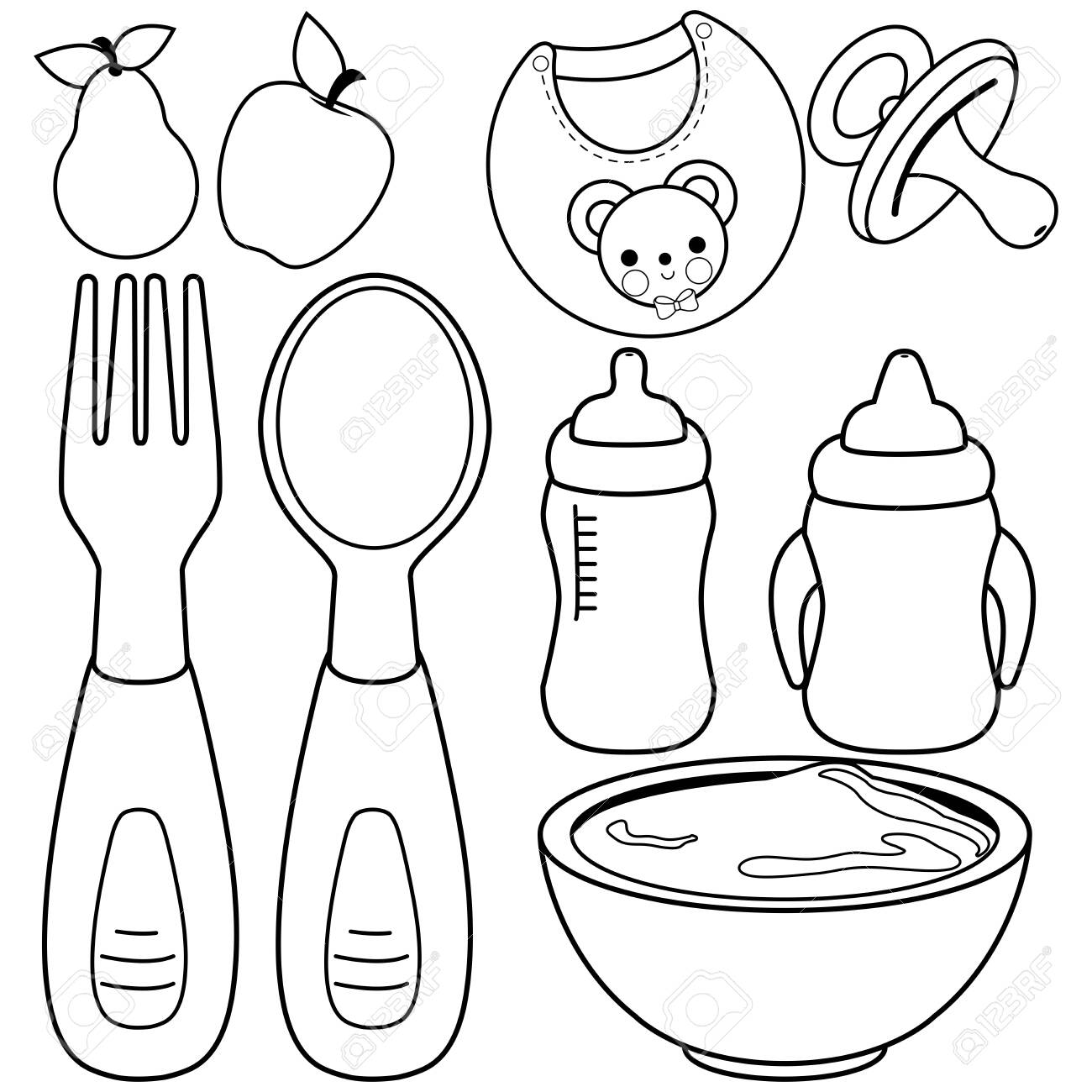 Baby Food Tableware Set Vector Black And White Coloring Page Royalty Free Cliparts Vectors And Stock Illustration Image 143587269