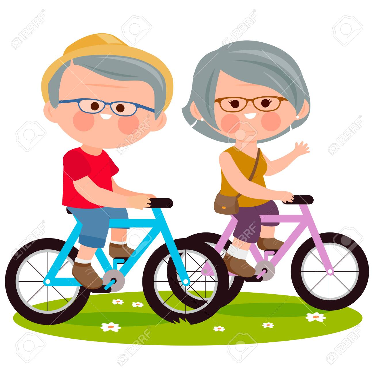 Elderly couple riding their bicycles at the park. Vector illustration - 159103147