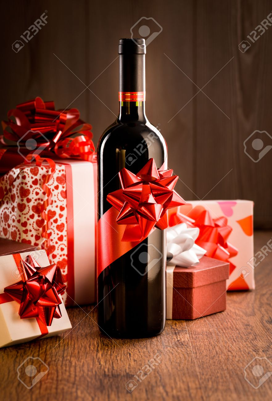 Good Wine Gifts For Christmas Part - 11: Wine Bottle Gift With Red Ribbon  And
