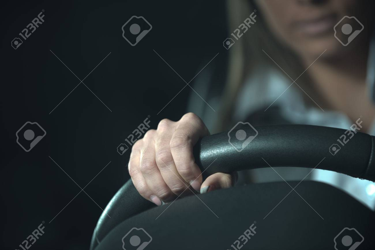 Woman Driving A Car Late At Night Hands On Steering Wheel Close Up Stock Photo Picture And Royalty Free Image Image 33163654