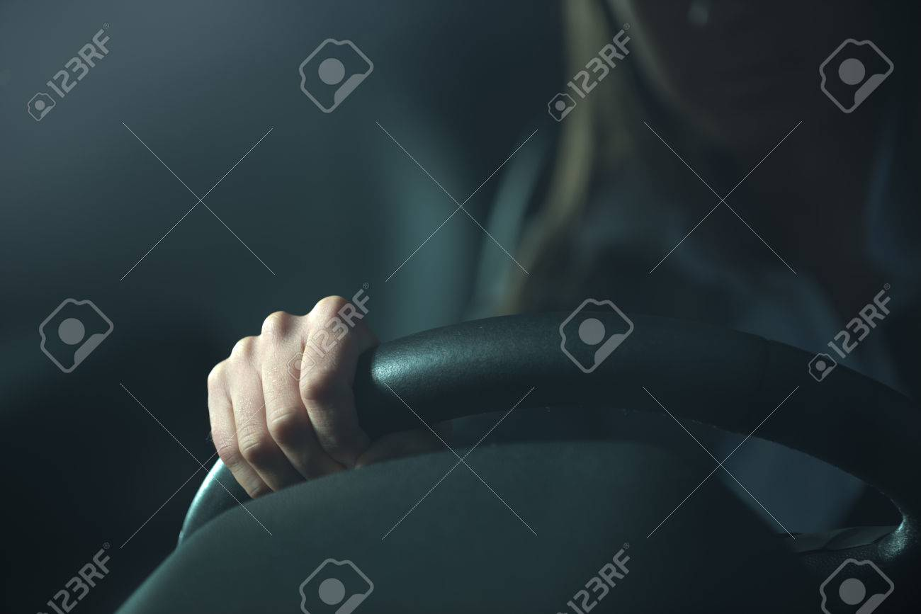 Woman Driving A Car Late At Night Hands On Steering Wheel Close Up Stock Photo Picture And Royalty Free Image Image 33702748
