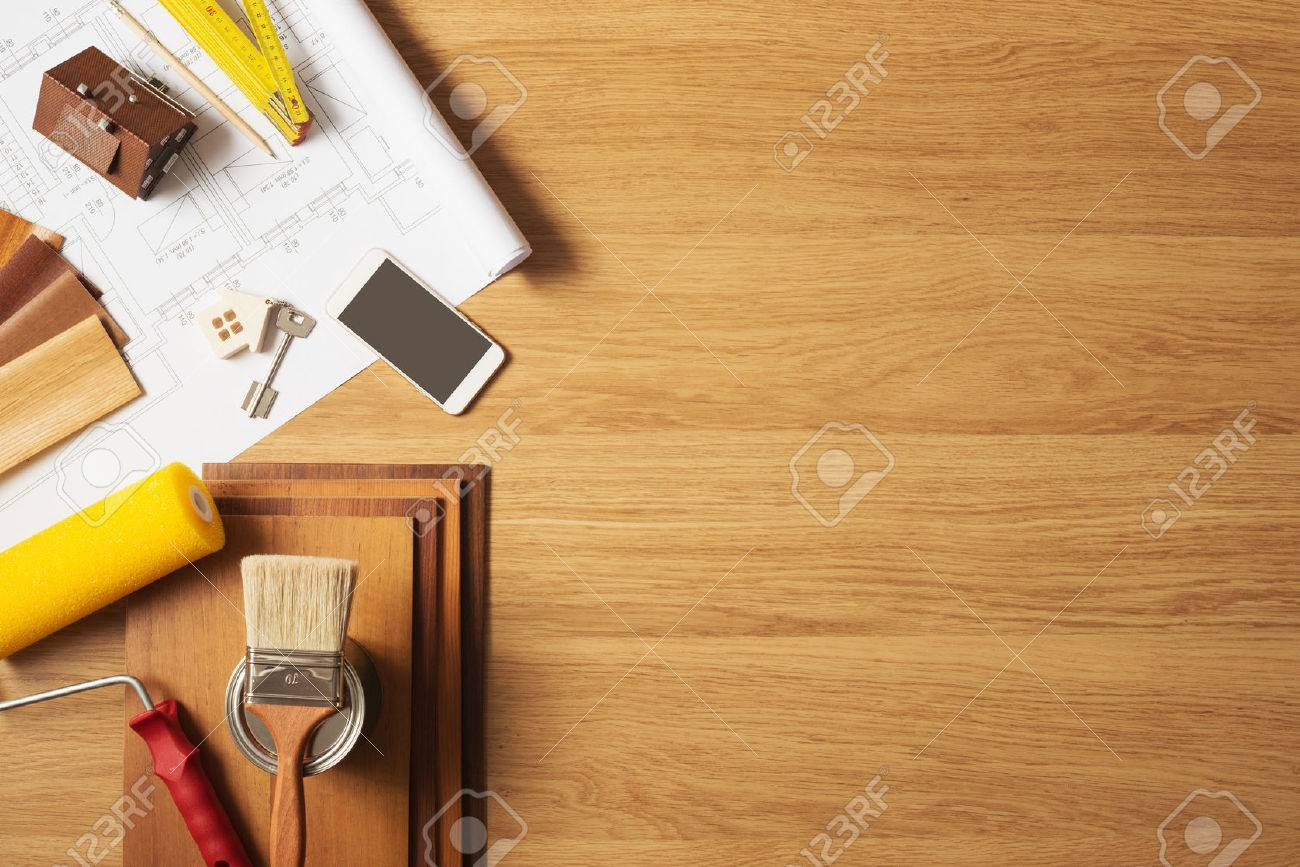 Do it yourself home remodeling and renovation concept  work table top view  with copyspace and. Do It Yourself Home Remodeling And Renovation Concept  Work Table