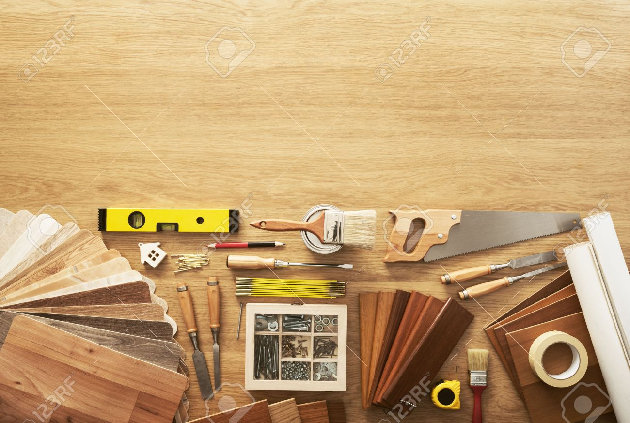 Diy Workbench Top View With Carpentry And Construction Tools