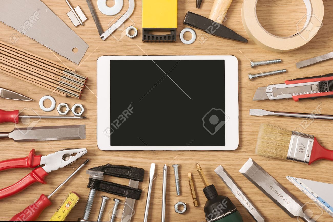 Digital Touch Screen Banner With Diy And Work Tools All Around