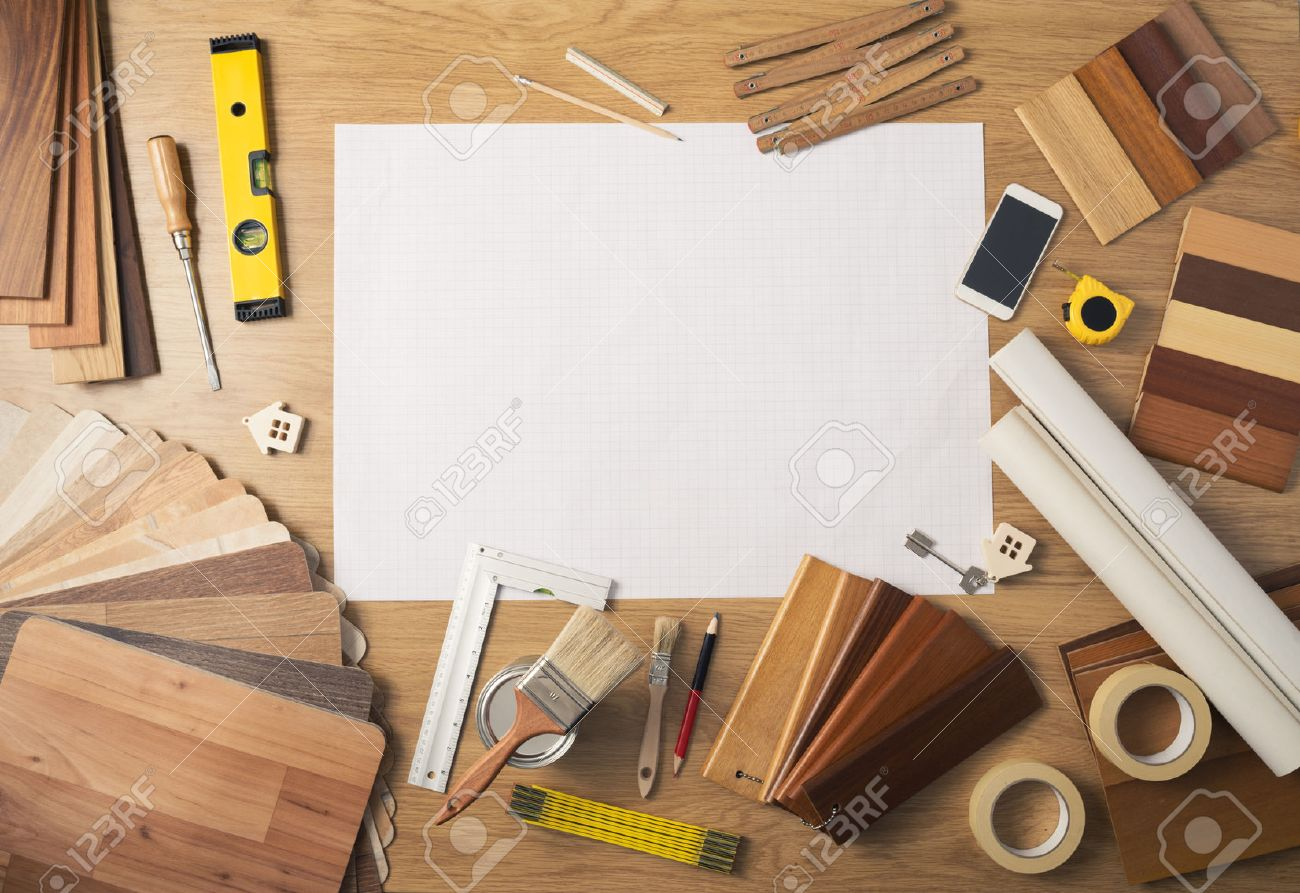 DIY Work Table Top View With Blank Project At Center, Wood Swatches, Mobile  Phone
