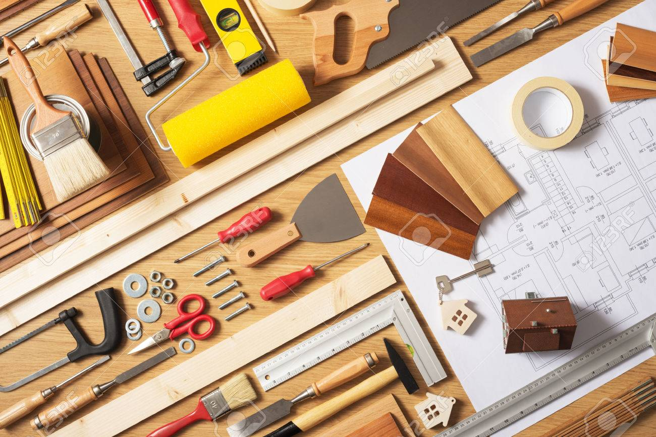 Do it yourself home improvement and renovation concept work stock do it yourself home improvement and renovation concept work table top view with work tools solutioingenieria Images