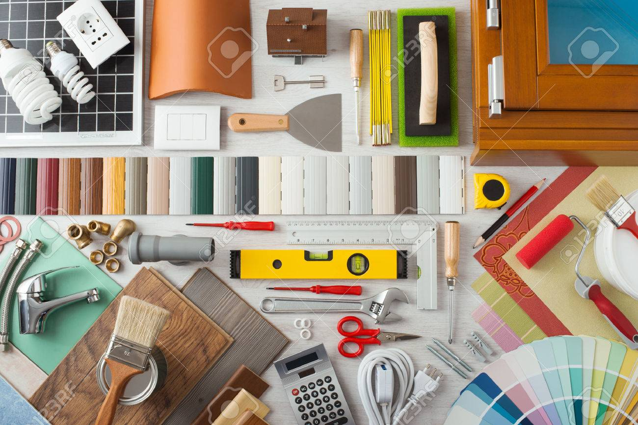 Do it yourself  home renovation and construction concept with DIY tools   hardware and swatches. Do It Yourself  Home Renovation And Construction Concept With