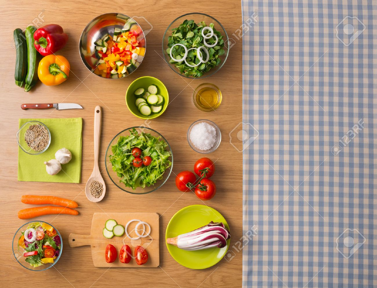 Kitchen table top view - Restaurant Table Top View Healthy Fresh Vegetarian Food On Kitchen Table With Checked Tablecloth On