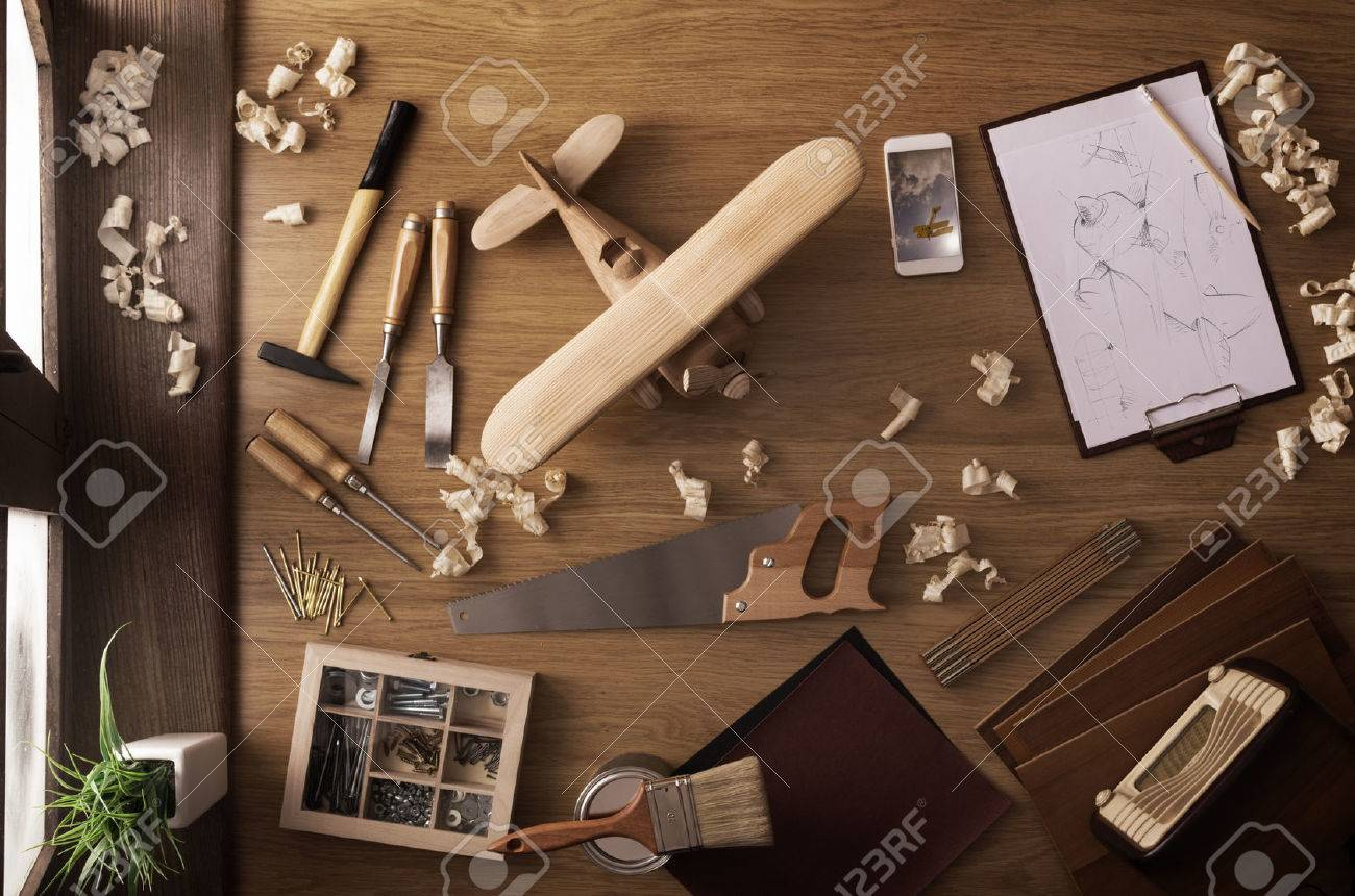 Diy Project At Home Concept Work Table With Handmade Wooden Stock