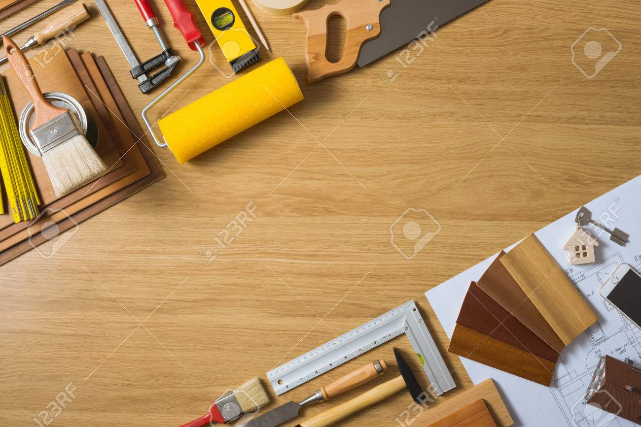Do it yourself home remodeling and renovation concept work table do it yourself home remodeling and renovation concept work table top view with tools solutioingenieria Gallery