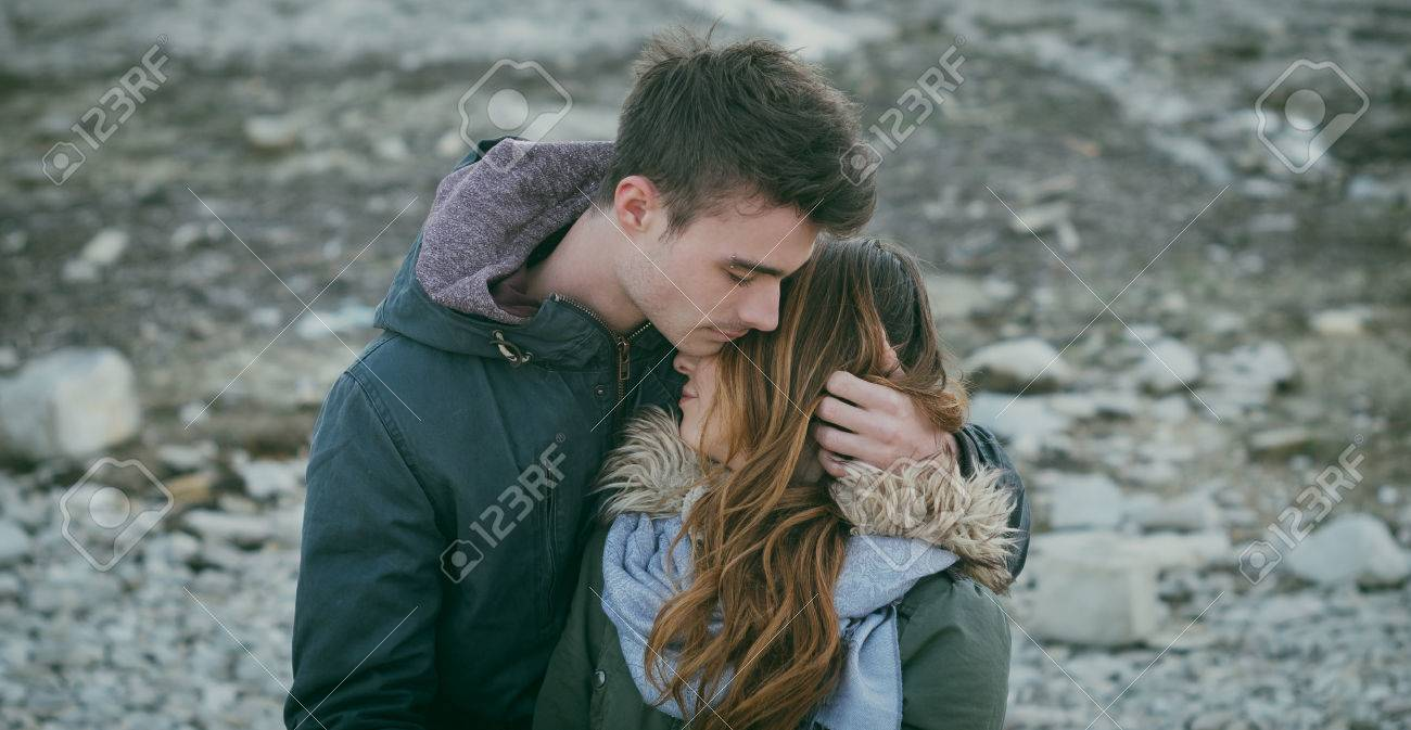 Romantic Sweet Teen Couple Hugging Love And Youth Concept Stock Photo