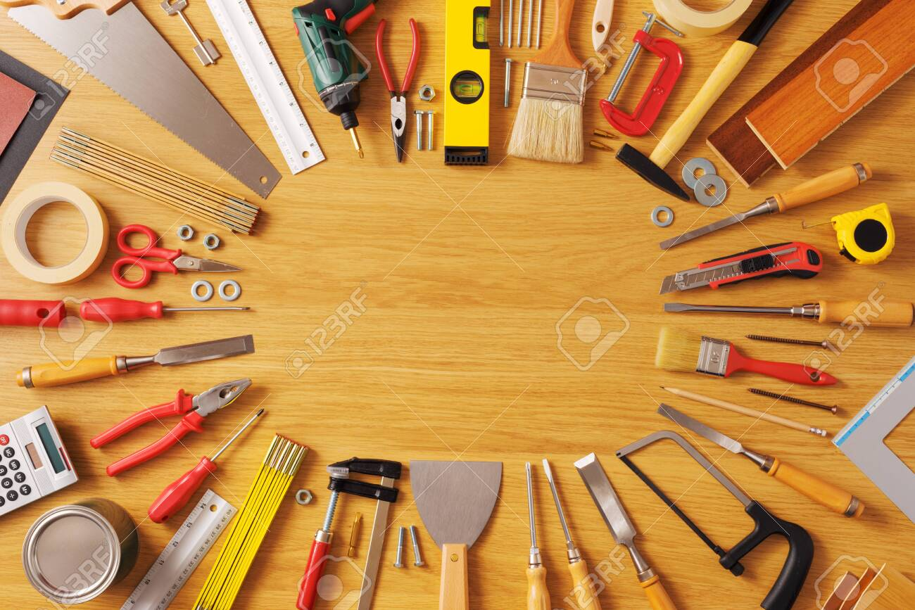 DIY and home improvement banner with work and construction tools on a wooden workbench top view, copy space at center - 146418171