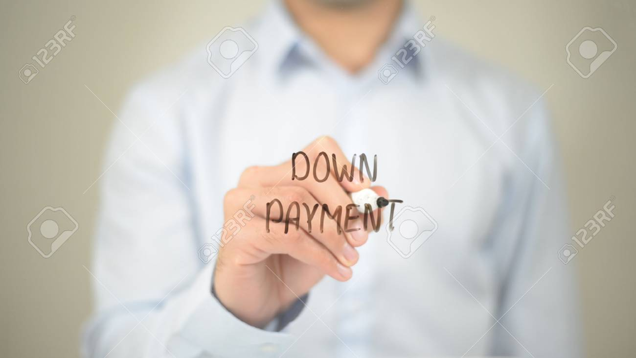 Down Payment, Man writing on transparent screen - 85508433