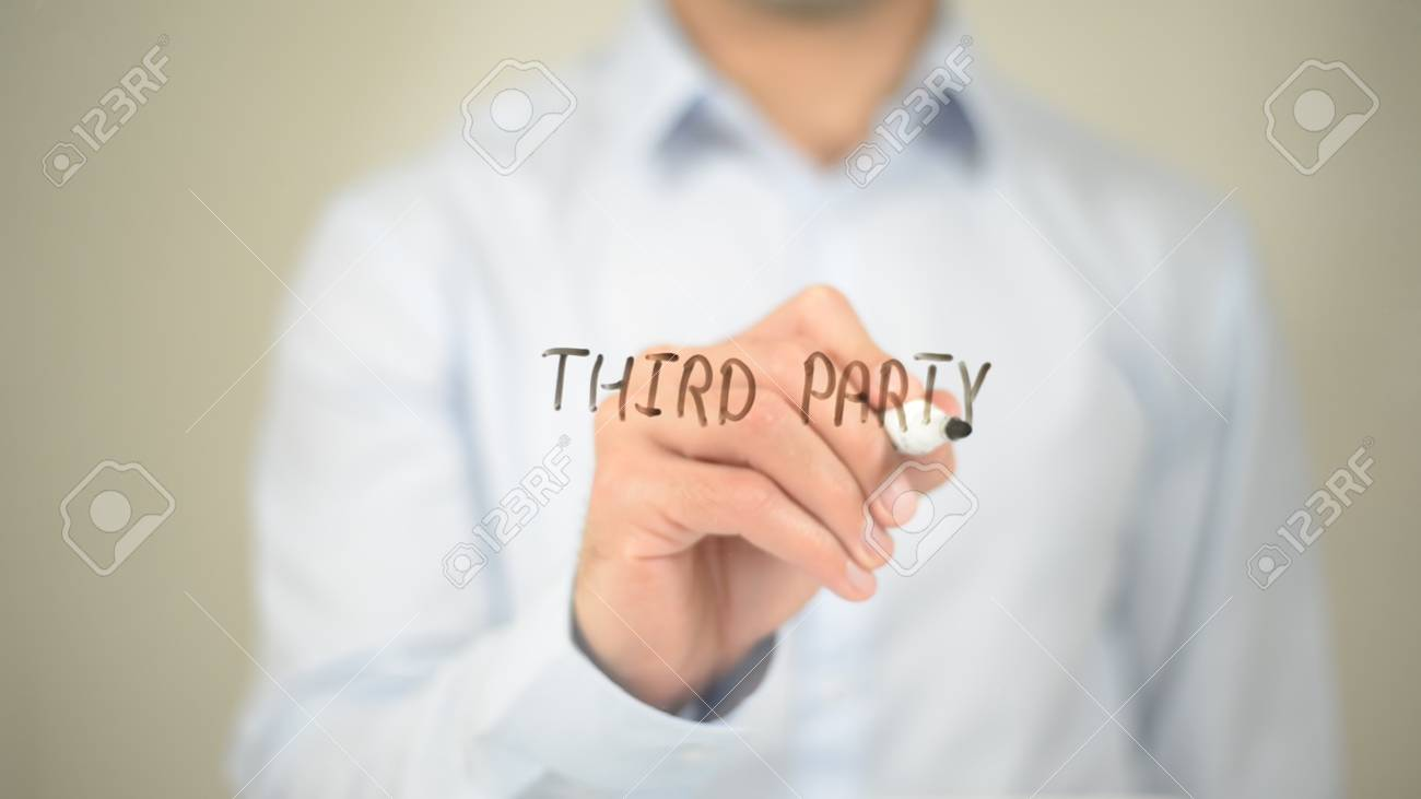 Third Party, Man Writing on Transparent Screen - 85550985