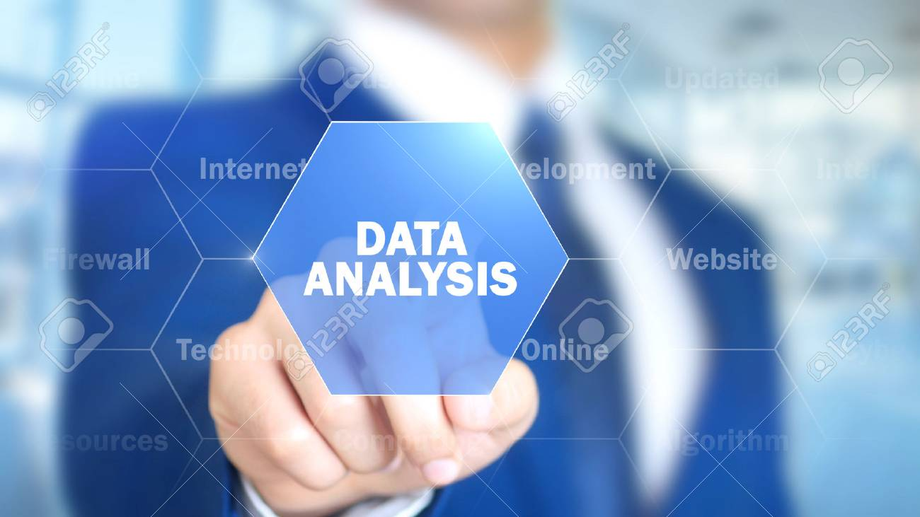 Data Analysis, Man Working on Holographic Interface, Visual Screen - 87823220