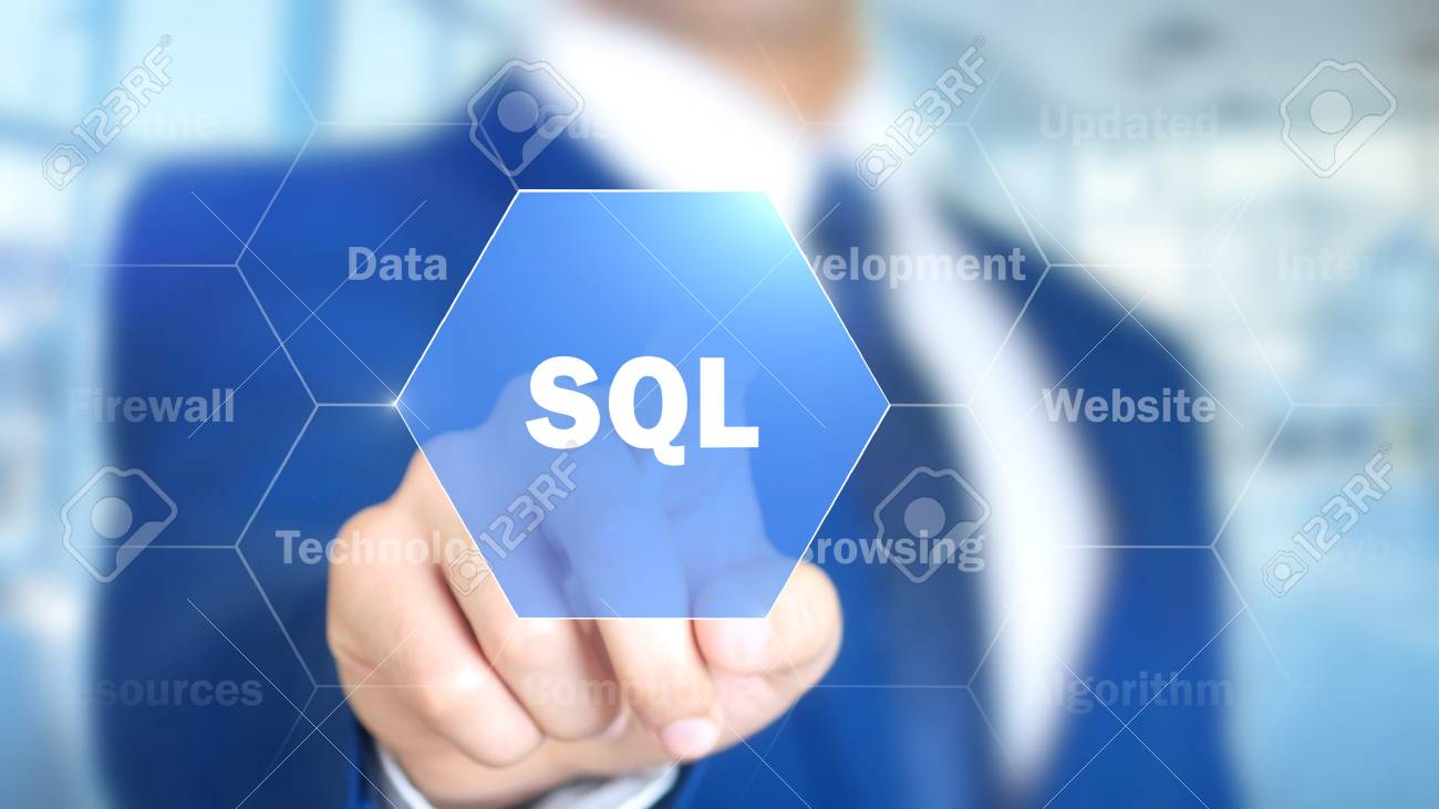 SQL,, Man Working on Holographic Interface, Visual Screen - 87835336