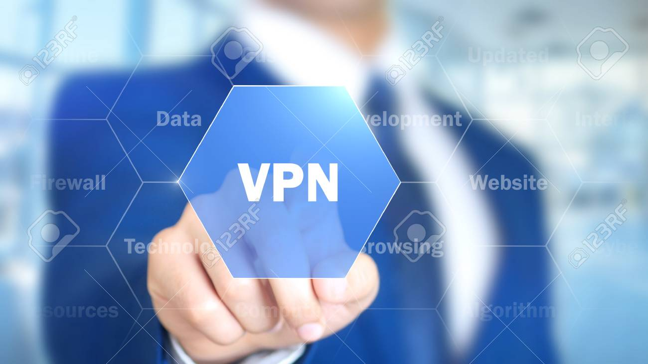 VPN, Man Working on Holographic Interface, Visual Screen - 87835764