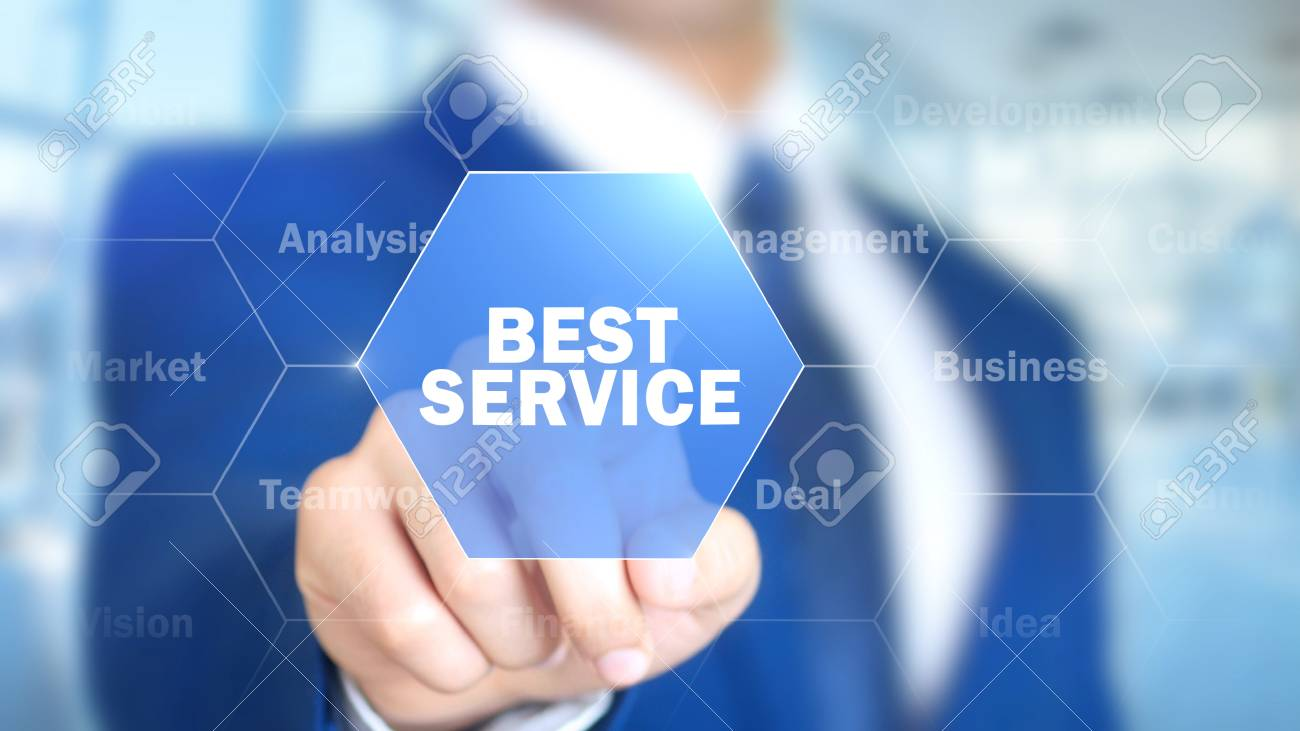 Best Service, Man Working on Holographic Interface, Visual Screen - 87882698
