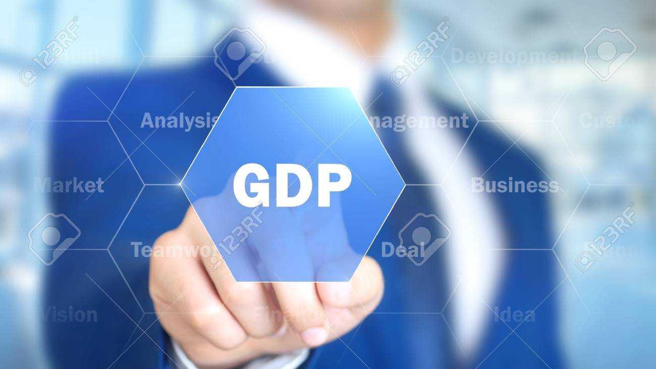 GDP, Man Working on Holographic Interface, Visual Screen - 87882814