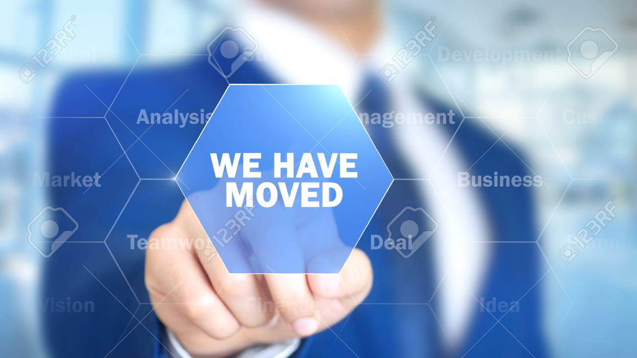 We Have Moved, Man Working on Holographic Interface, Visual Screen - 87994413
