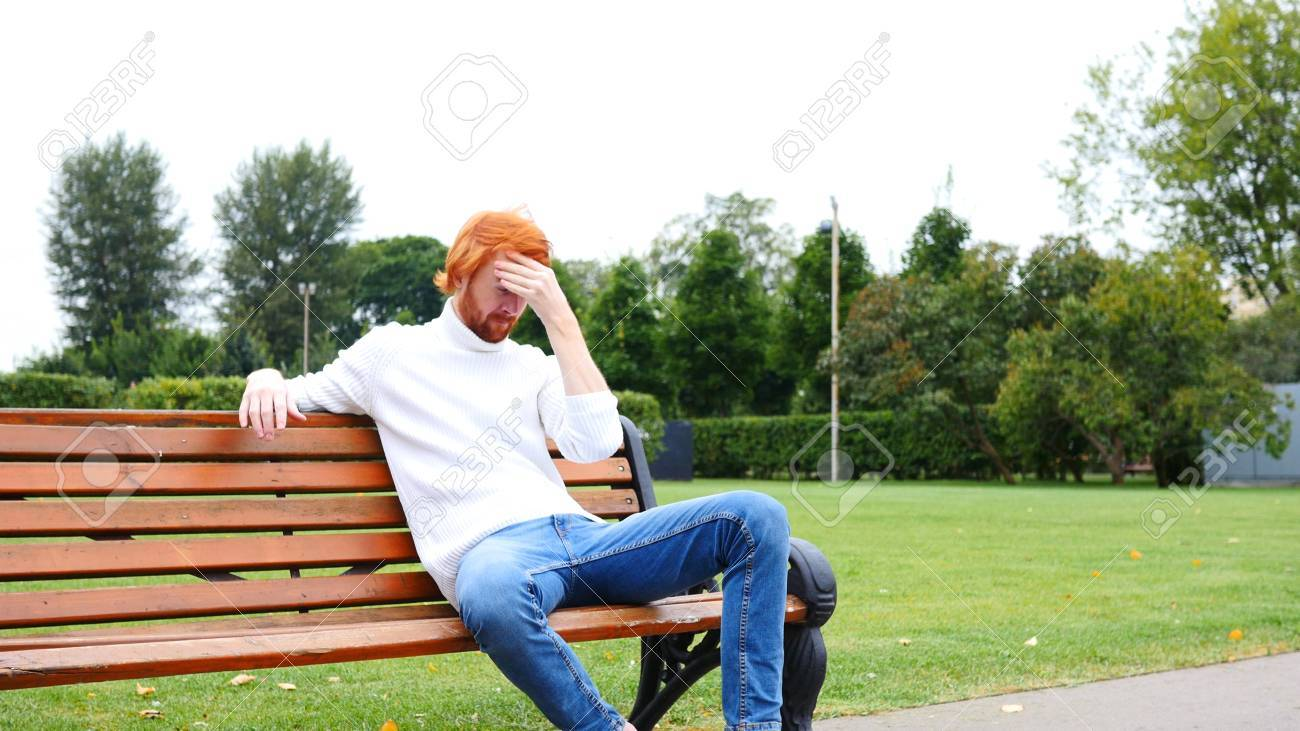 Headache, Upset Gesture by Young Man, , Red Hairs and Beard - 87891939