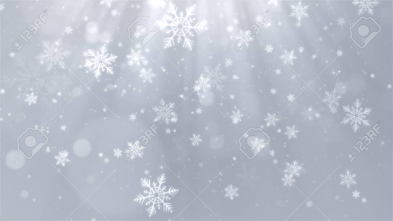 White Christmas Background.White Christmas Background With Snowflakes Shiny Lights And