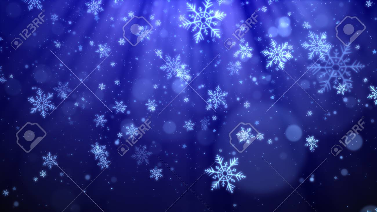 blue christmas background with snowflakes shiny lights and particles bokeh in elegant theme stock