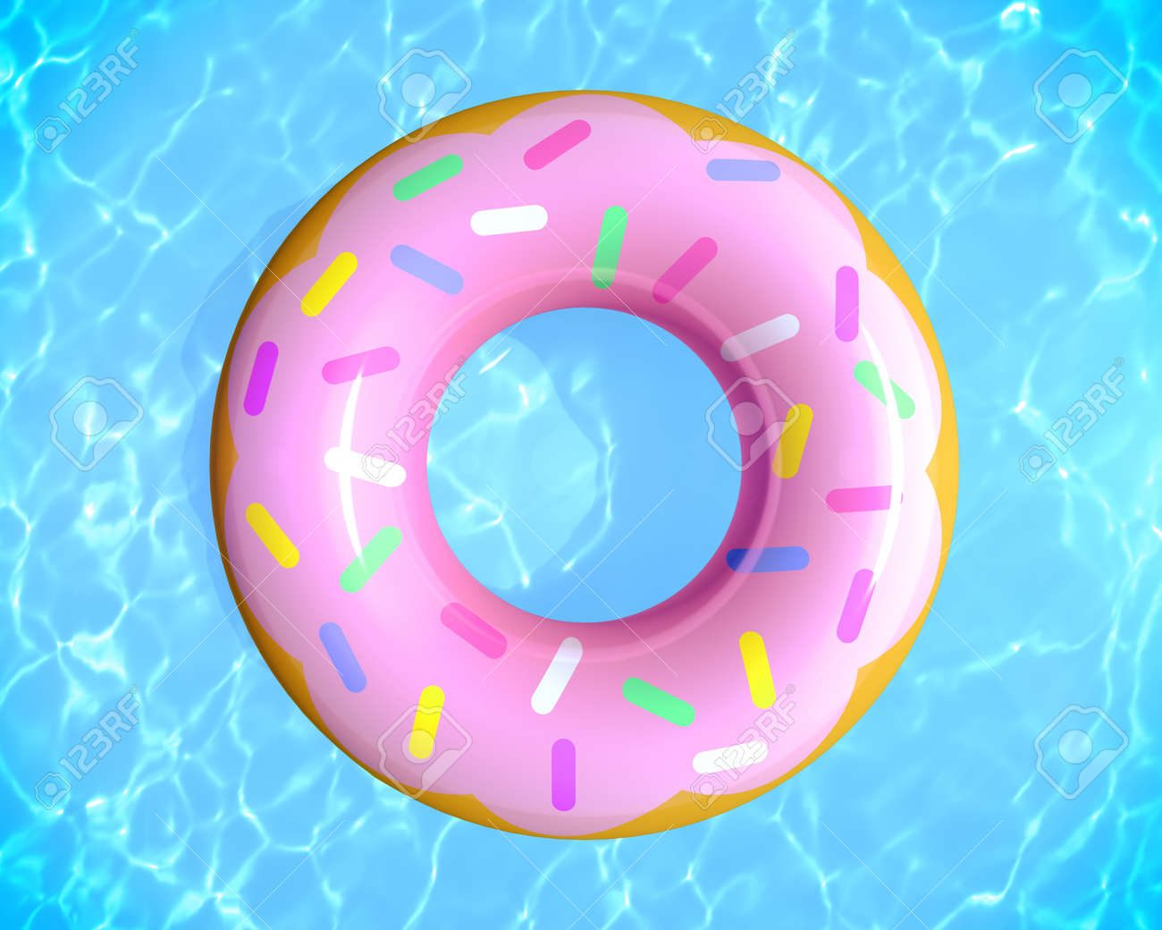 Top view of summer pool party concept with rubber ring donut toy in the swimming pool, 3d rendering. - 170462133