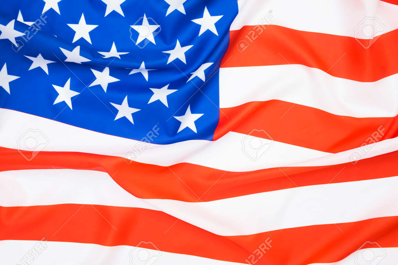 Close up of American flag waving background. - 170982385