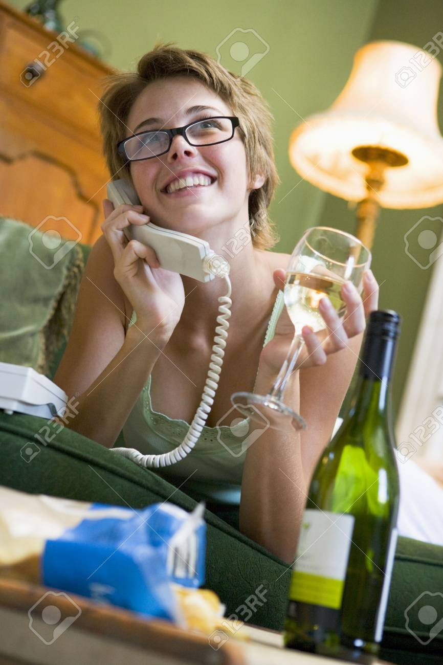 Woman at home on phone Stock Photo - 2802430