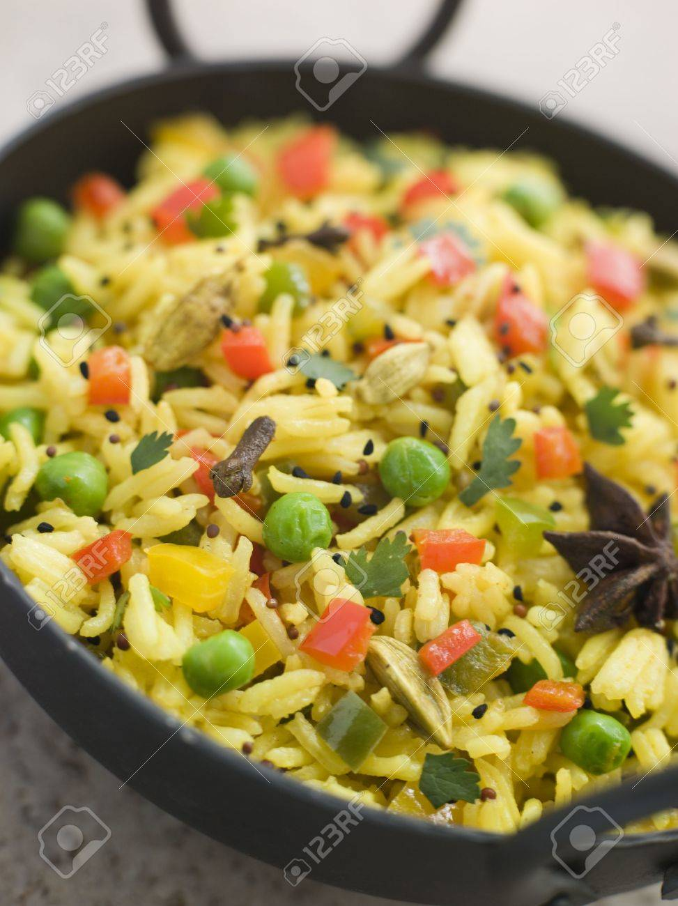 Vegetable Pilau Rice in a Balti Dish Stock Photo - 3131740