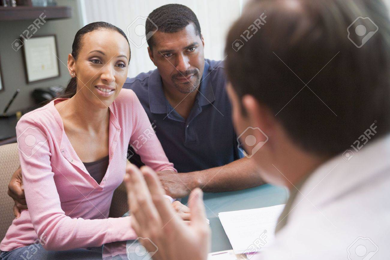 Couple in consultation at IVF clinic (selective focus) Stock Photo - 3203121
