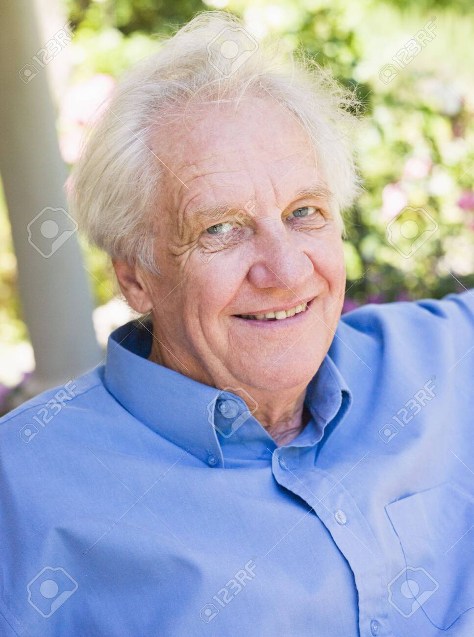 Senior man sitting outdoors Stock Photo - 3177545