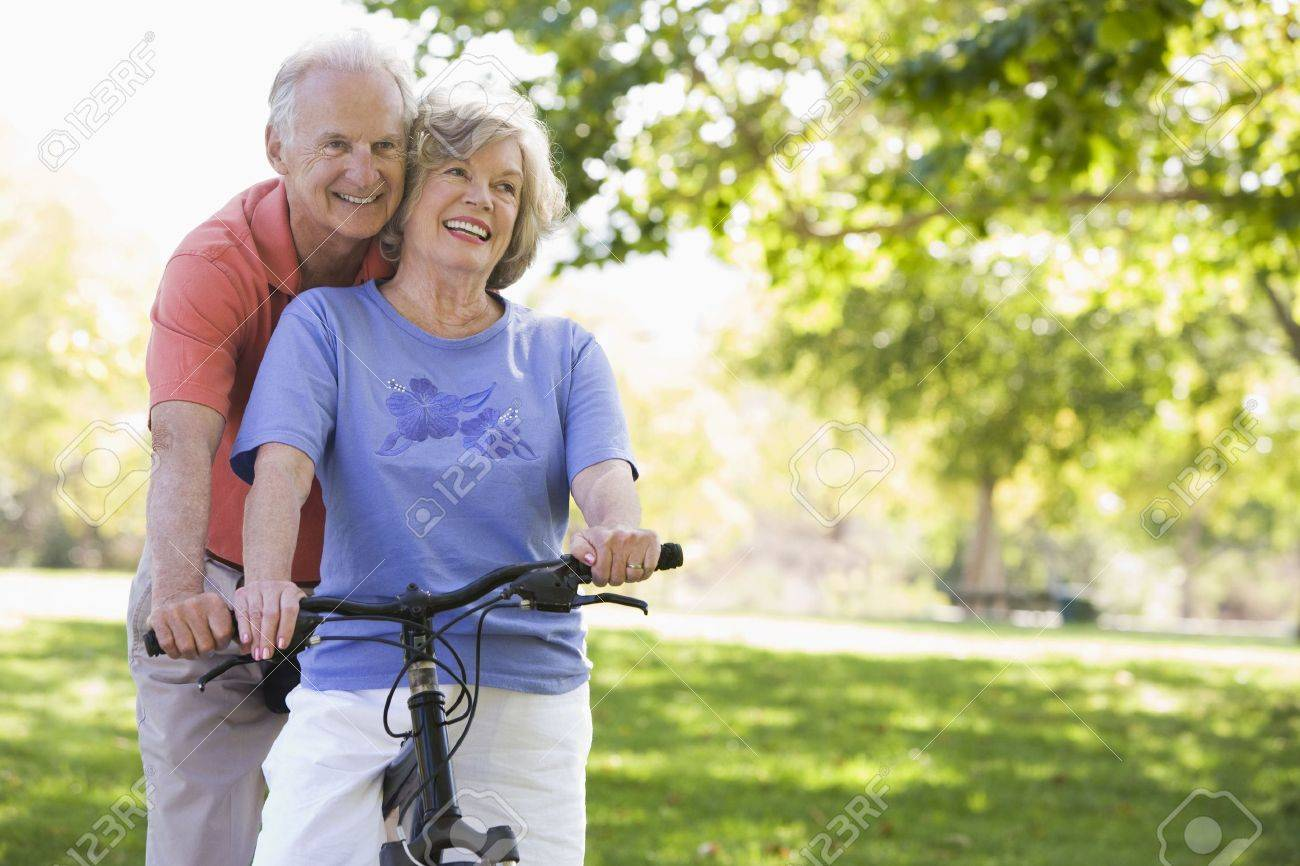Senior couple on a bicycle Stock Photo - 3177141