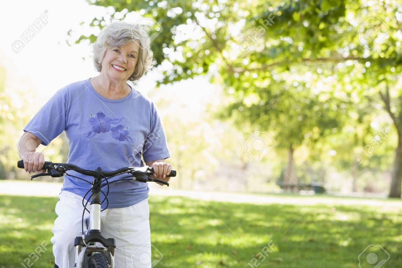 Senior woman on a bicycle Stock Photo - 3177027