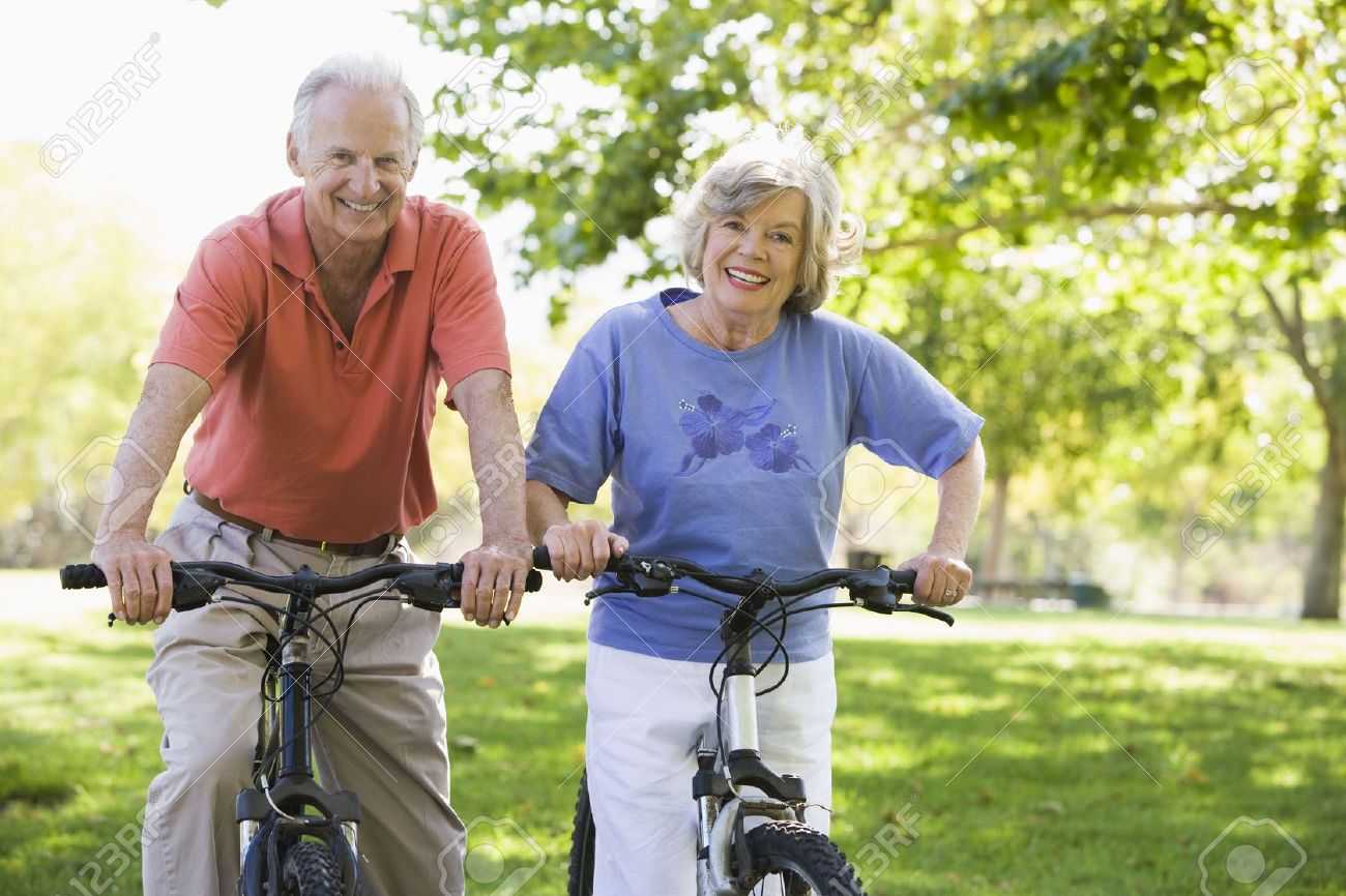 Senior couple on bicycles Stock Photo - 3177596